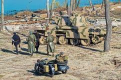 Militärische historische Rekonstruktion des Zweiten Weltkrieges Stockbilder