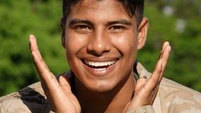 Militärischer männlicher Soldat And Happiness Stockfotografie