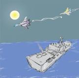 Militärjets und Kriegsschiff Stockfotografie
