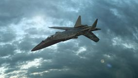 Milit?rkampfflugzeugfliege in den Wolken Wunderbarer Sonnenuntergang Realistische Animation 3D lizenzfreie abbildung