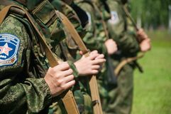 Militärlager Bildung von Soldaten Abschluss oben stockfoto