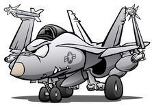 Militärmarinekämpfer Jet Airplane Cartoon Vector Illustration lizenzfreies stockfoto