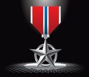Militärmedaille unter Scheinwerfer stock abbildung