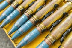 Militärmunition, schwere Maschinengewehrkugel, Zeichen des Krieges Stockfotos
