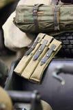 Militärmunitionsnahaufnahme Wehrmacht Beutel für Zeitschriften des Pistolemaschinengewehrs MP-40 lizenzfreies stockfoto
