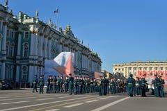 Militärmusiker nach der Wiederholung Victory Parades herein Stockbilder