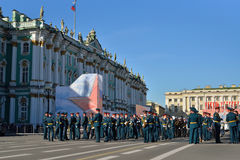Militärmusiker nach der Wiederholung Victory Parades herein Stockfoto