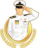 Militäroffizier in der Gruß-Geste Stockfotos