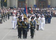 Militärparade des Sieg-Tages Stockbild