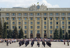 Militärparade des Sieg-Tages Stockfotografie