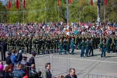 Militärparade während der Feier des Siegtages Lizenzfreie Stockfotos