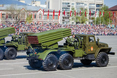 Militärparade während der Feier des Siegtages Stockfoto