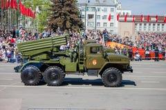 Militärparade während der Feier des Siegtages Stockfotografie