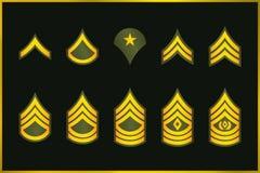 Militärrang-Streifen und Sparren Vektor-gesetzte Armee-Insignien stock abbildung
