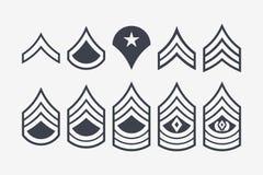 Militärrang-Streifen und Sparren Vektor-gesetzte Armee-Insignien lizenzfreie abbildung