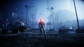 Militärroboter in zerstörter Stadt Zukünftiges Apocalypsekonzept Realistische Animation 4K lizenzfreie abbildung