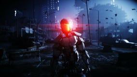 Militärroboter in zerstörter Stadt Zukünftiges Apocalypsekonzept Realistische Animation 4K vektor abbildung