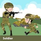 Militärsoldatwaffenkarikatur Stockfotos