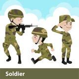Militärsoldatwaffenkarikatur Stockbilder