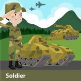Militärsoldatwaffenkarikatur Lizenzfreie Stockbilder