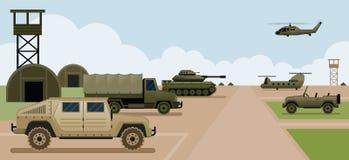Militärstützpunkt-Lager, Seitenansicht Stockfoto