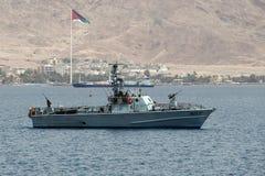 Militärt fartyg för israelisk gräns nära gränsen med Jordanien royaltyfri fotografi
