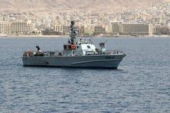 Militärt fartyg för israelisk gräns nära gränsen med Jordanien arkivfoton