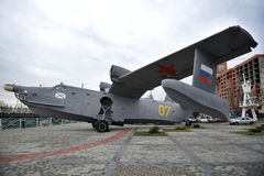 Militärt flygplan Be-12 i museet av världshavet Arkivfoton