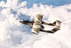 Militärt flygplan på en airshow Fotografering för Bildbyråer