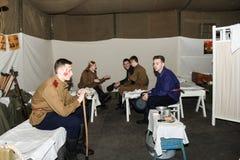 Militärt folk i sjukhuset arkivbilder