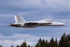 Militärt jaktplanstråle som lågt flyger ovanför jordningen royaltyfria foton