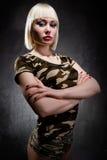 militärt kvinnabarn Royaltyfri Fotografi