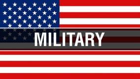Militärt på en USA flaggabakgrund, tolkning 3D USA flagga som vinkar i vinden Stolt amerikanska flaggan som vinkar, vektor illustrationer