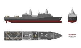Militärt skepp Överkant-, framdel- och sidosikt Modell för slagskepp 3d Industriell isolerad teckning av USS fartyget krigsskepp royaltyfri illustrationer