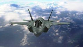 Militärt strålflygplan som flyger ovannämnda moln royaltyfri illustrationer
