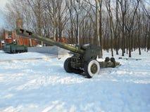 Militärt vapen i en snöig vinterdag Arkivfoton