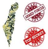 Militärtarnungs-Zusammensetzung der Karte von Israel und geheime Dichtungen beunruhigen lizenzfreie abbildung