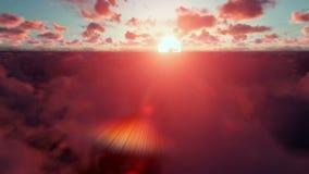 Militärzerhacker über Wolken bei Sonnenuntergang stock footage