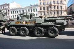 Milit?rische Ausr?stung vor der Parade stockbild