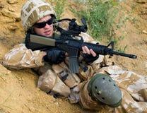 Militair in actie Royalty-vrije Stock Foto's