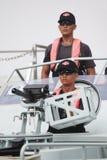 Militair in de snelheidsboot Royalty-vrije Stock Afbeeldingen