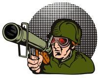 Militair die een bazooka streeft Royalty-vrije Stock Afbeeldingen