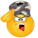 Militair die emoticon groeten vector illustratie