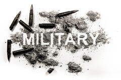 Militair die woord in stof met rond kogels wordt geschreven royalty-vrije stock afbeeldingen