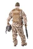 Militair in eenvormig, klaar te vechten Royalty-vrije Stock Foto's