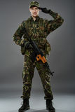 Militair in eenvormig met machinegeweer Royalty-vrije Stock Foto's