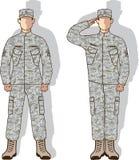Militair in eenvormige begroeting Stock Afbeeldingen