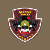 Militair Embleem met een schedel en het wapen, Vleugels op schild WA Stock Fotografie