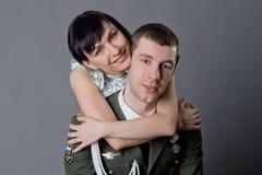 Militair en meisje royalty-vrije stock foto's