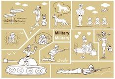 Militair en militairen stock illustratie